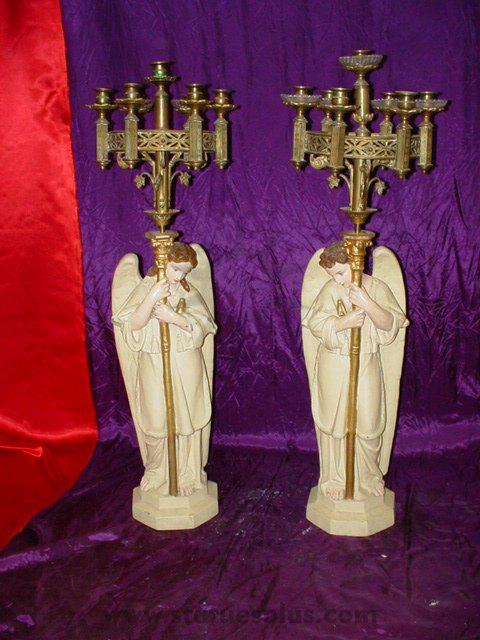 Angels with candelabra, pair