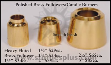 Polished Brass Followers/Candle Burners