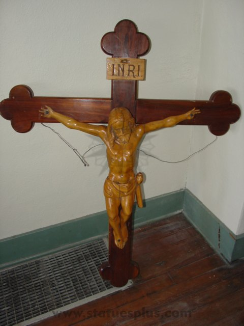 Wood Crucifix with Carved Christ