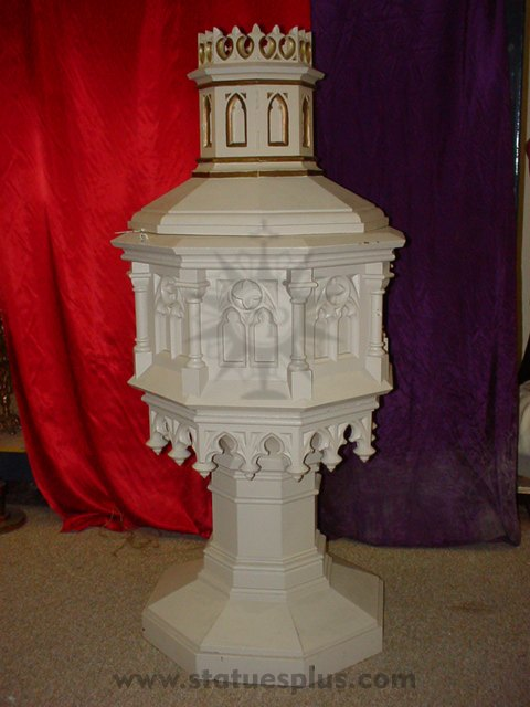 Painted Wood Baptismal Font