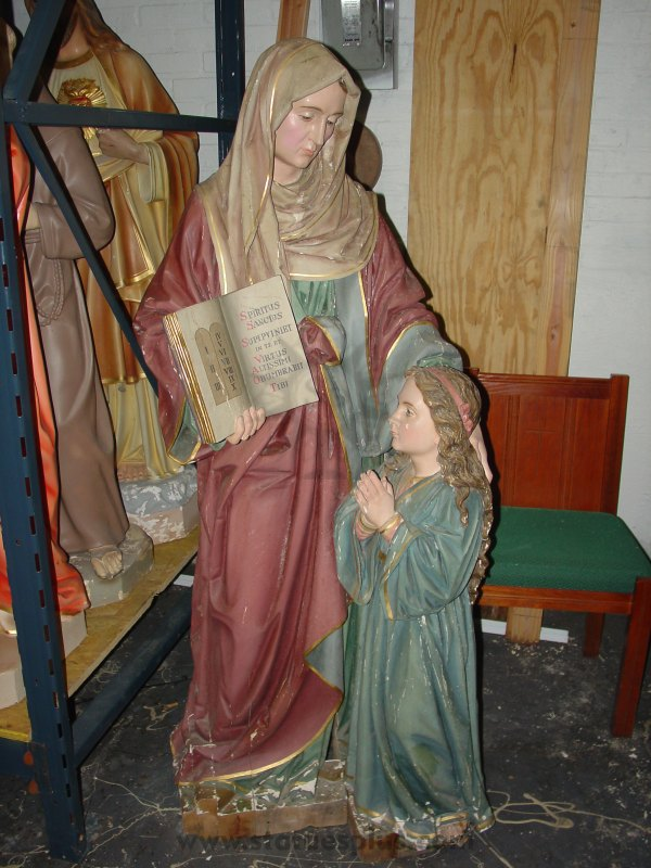 1880s Carved Wood St. Anne with Child Mary