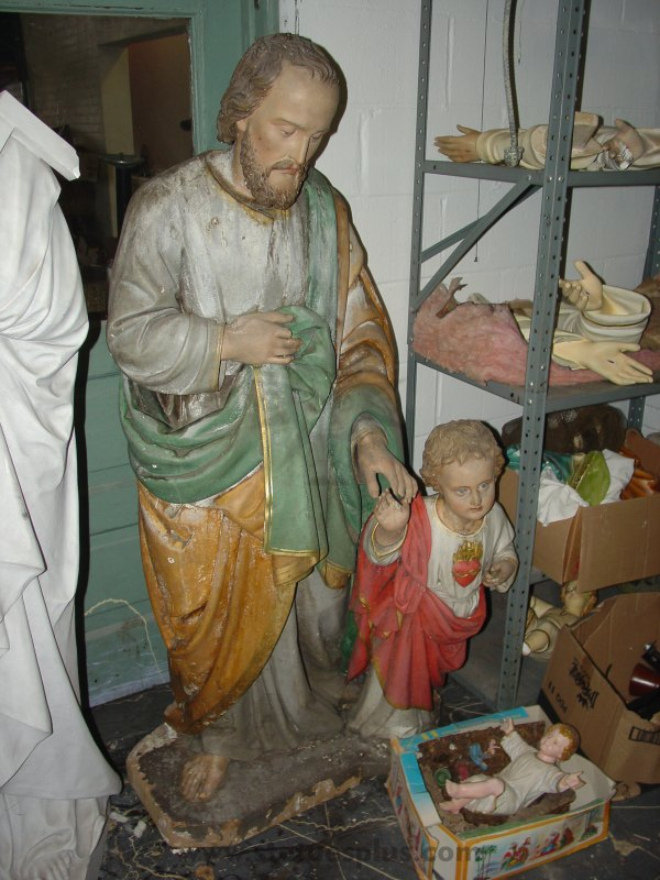 1950s Carved Wood Statue of St. Joseph with Child Jesus